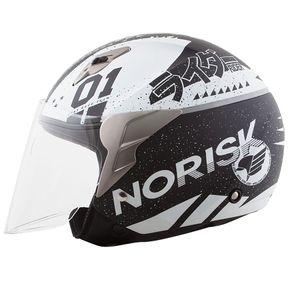 Capacete-Norisk-Jet-Tokyo-Matt-Black-White-1